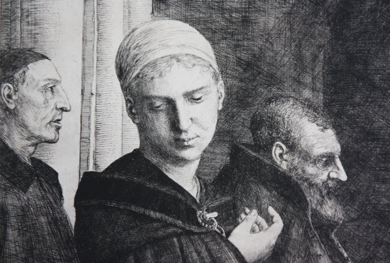 Le Bapteme etching by Alphonse Legros in Black and White For Sale 1