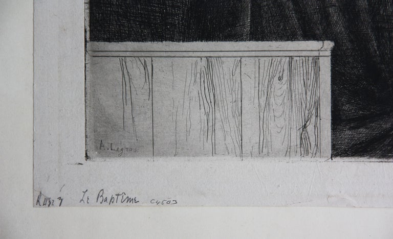 Le Bapteme etching by Alphonse Legros in Black and White For Sale 3
