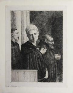 Le Bapteme etching by Alphonse Legros in Black and White