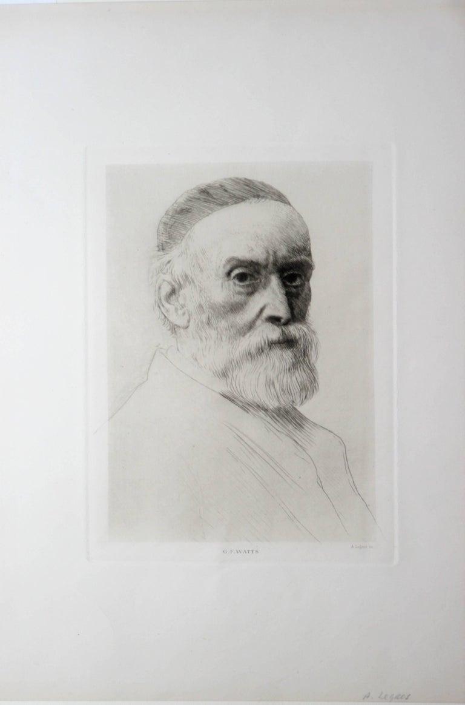 Portrait of George Frederick Watts - Print by Alphonse Legros