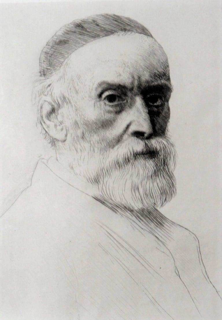 Alphonse Legros Portrait Print - Portrait of George Frederick Watts