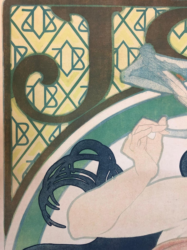 Alphonse Mucha JOB Original Poster, 1898 In Good Condition For Sale In Dallas, TX