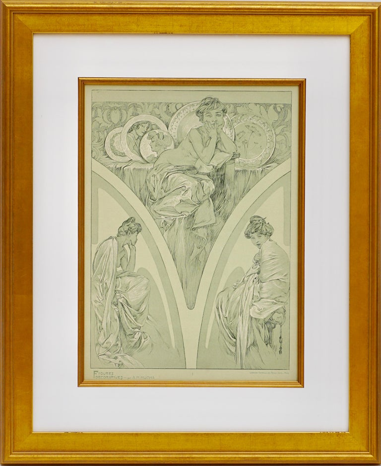 A framed Art Nouveau poster by Alphone Mucha from 1905 representing Muchas sketched designs of nudes, woman and beautiful ladies in greens and whites on velem paper. Plate 1.   Figures Decoratives par A. M. Mucha, PARIS Librairie Centrale des