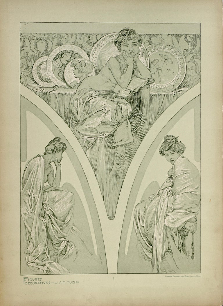 Art Nouveau Alphonse Mucha Poster from Figures Decoratives, 1905 Plate 1 For Sale