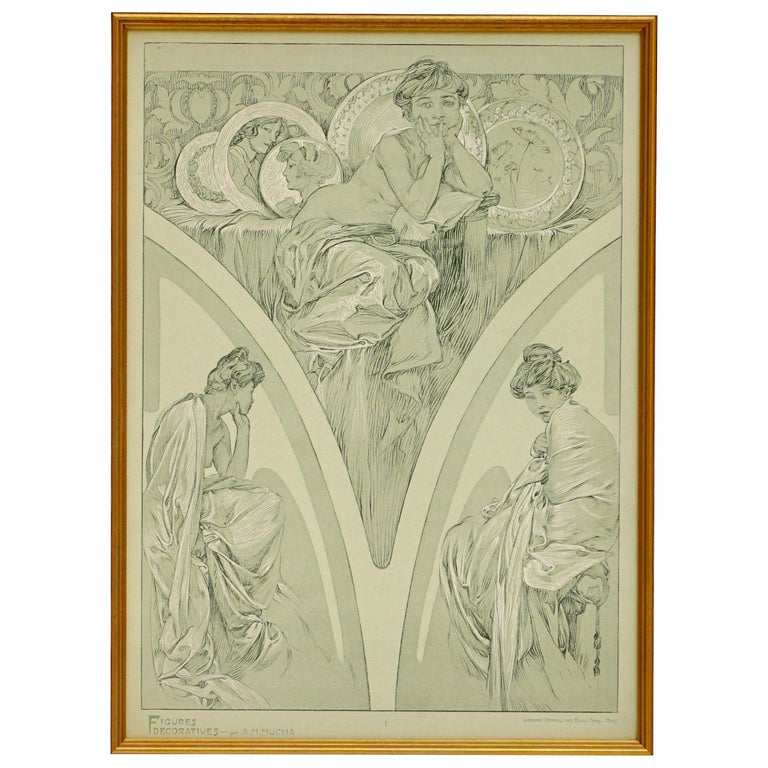 Alphonse Mucha Poster from Figures Decoratives, 1905 Plate 1 For Sale