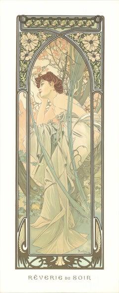1974 Alphonse Mucha 'Reverie Du Soir' Art Nouveau Pastel,Pink,Green,Gray France