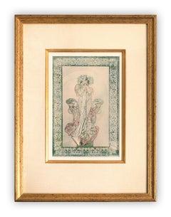 Alphonse Mucha panel of Sarah Bernhardt in La Princesse Lointaine, c. 1900