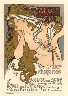 Alphonse Mucha XXme Exposition du Salon des Cent, 1897 lithograph with gold ink