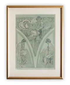 """Alphonse Mucha's """"Figures Decoratives"""" 1905 Art Nouveau Lithograph, Plate 1"""