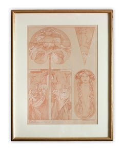 """Alphonse Mucha's """"Figures Decoratives"""" 1905 Art Nouveau Lithograph, Plate 11"""