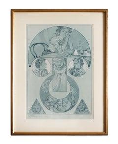 """Alphonse Mucha's """"Figures Decoratives"""" 1905 Art Nouveau Lithograph, Plate 37"""