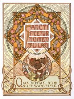 "Alphonse Mucha's Le Pater: ""Hallowed Be Thy Name"" 1899 mandala lithograph"