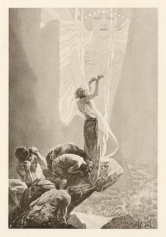 """Alphonse Mucha's Le Pater: """"Hallowed Be Thy Name"""" 1899 sepia lithograph"""