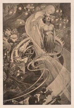 "Alphonse Mucha's Le Pater: ""Lead Us Not Into Temptation"" Japon lithograph, 1899"
