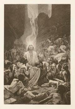 "Alphonse Mucha's Le Pater: ""Thy Kingdom Come"" 1899 sepia lithograph"