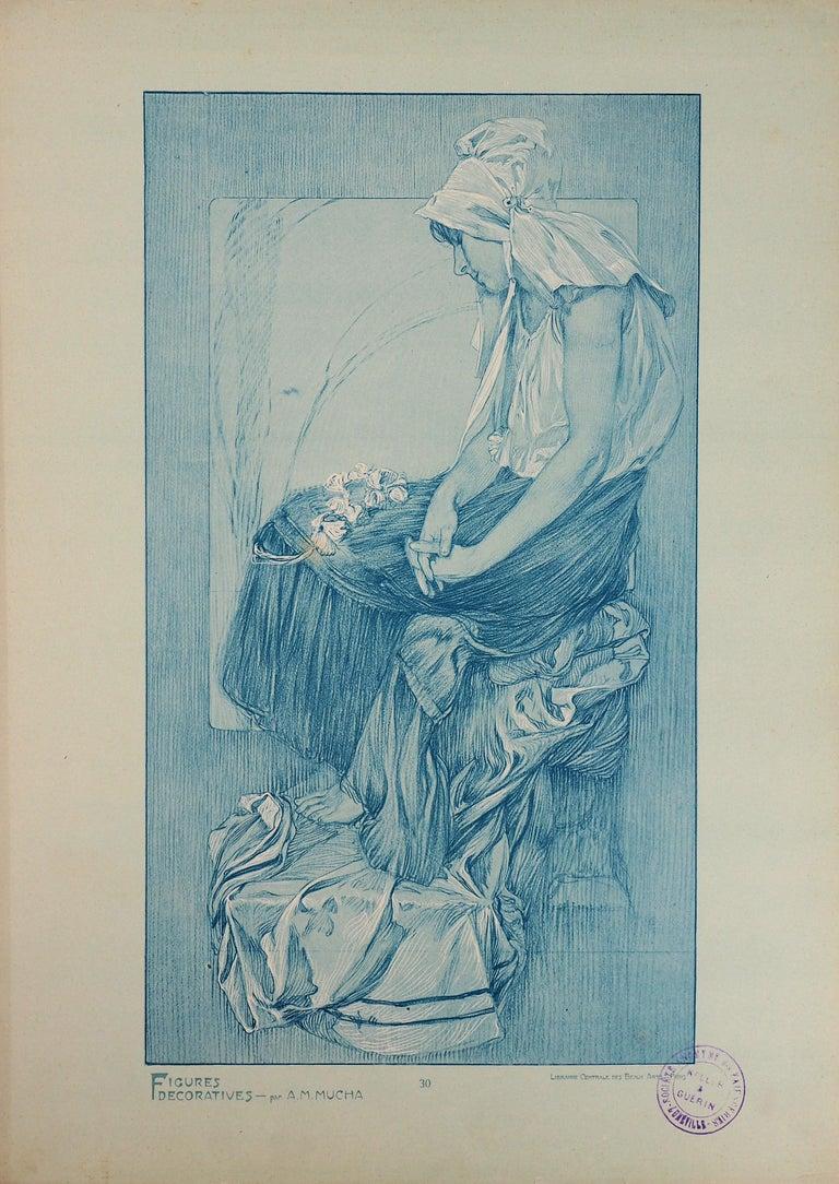 Asleep Woman (Figures Decoratives) - Lithograph, 1902 - Print by Alphonse Mucha