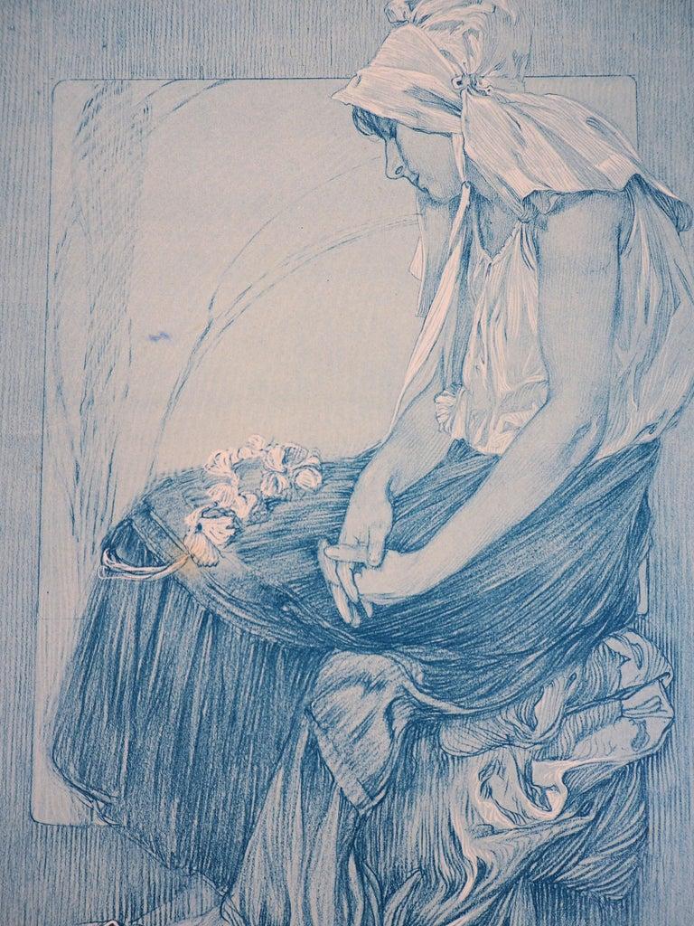 Asleep Woman (Figures Decoratives) - Lithograph, 1902 - Art Nouveau Print by Alphonse Mucha