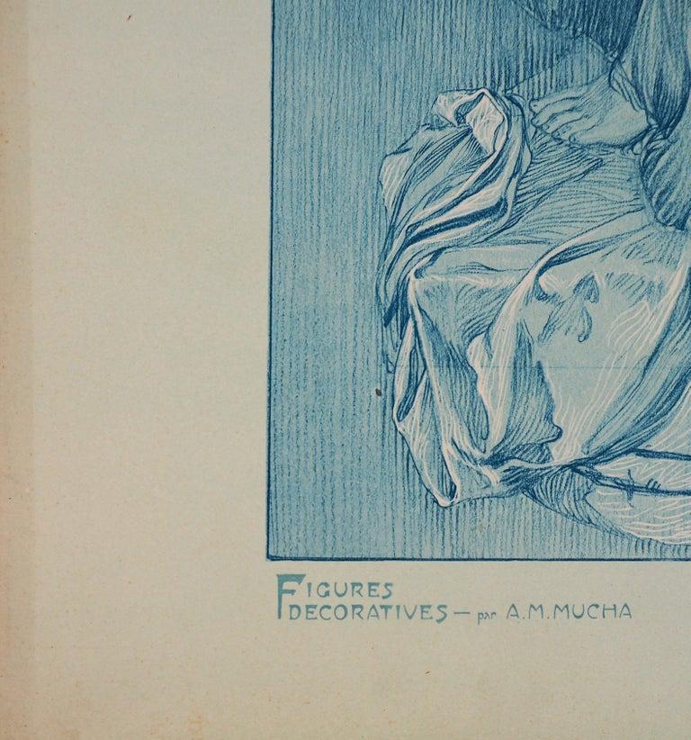 Asleep Woman (Figures Decoratives) - Lithograph, 1902 - Gray Figurative Print by Alphonse Mucha