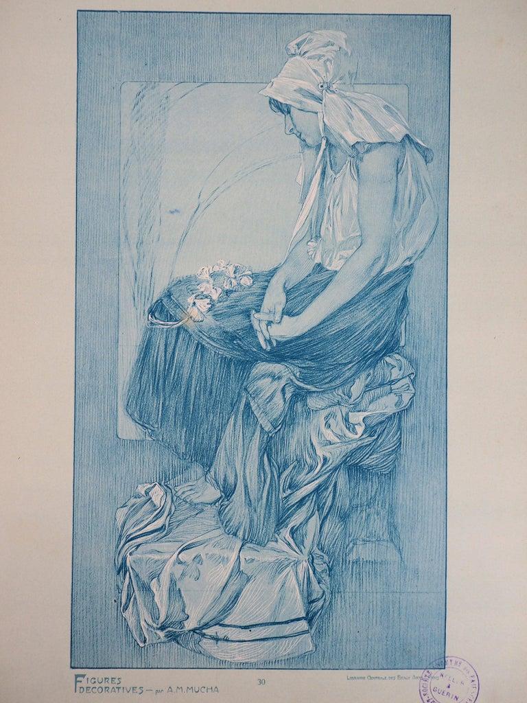 Alphonse Mucha Figurative Print - Asleep Woman (Figures Decoratives) - Lithograph, 1902