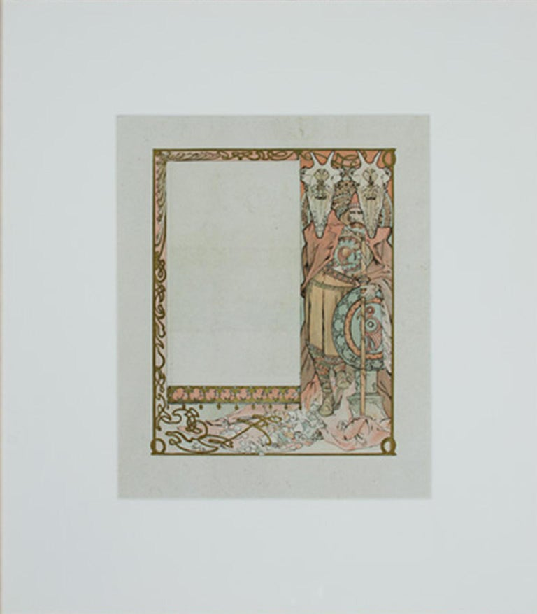 """Alphonse Mucha Figurative Print - From: Ilsée, Princess of Tripoli; signed Recto: """"Guardian of Flowers"""" Lithograph"""