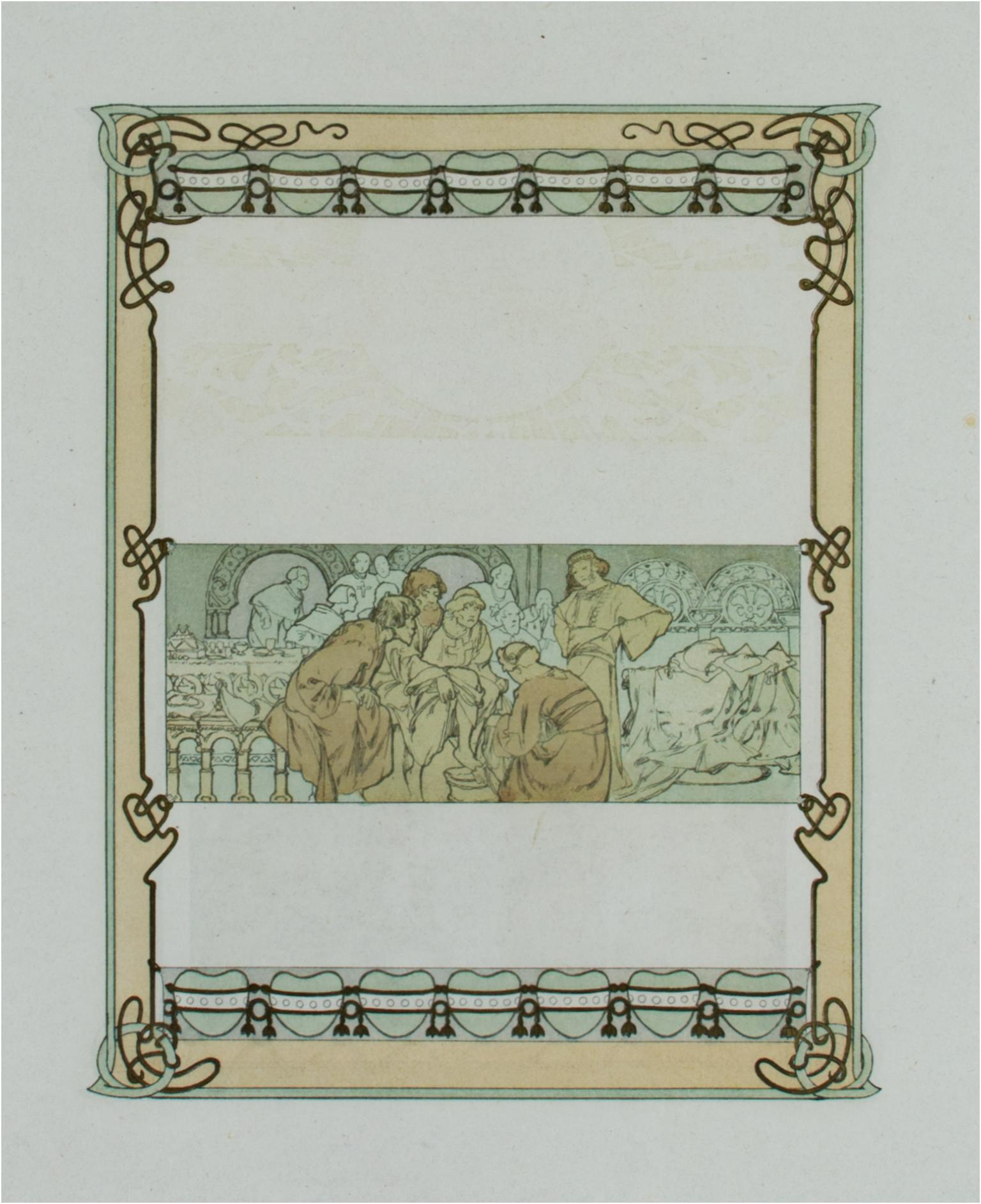 """""""Ilsee's Welcome"""" & """"Pilgrim's Tale,"""" Double-sided Lithograph by Alphonse Mucha"""