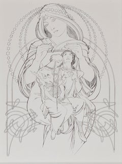 """Jaufre & Eymardine,"" lithograph by Alphonse Mucha from ""Princess of Tripoli"""