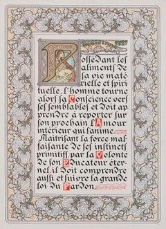 "Le Pater: ""Forgive Us Our Trespasses"" 1899 illuminated manuscript lithograph"