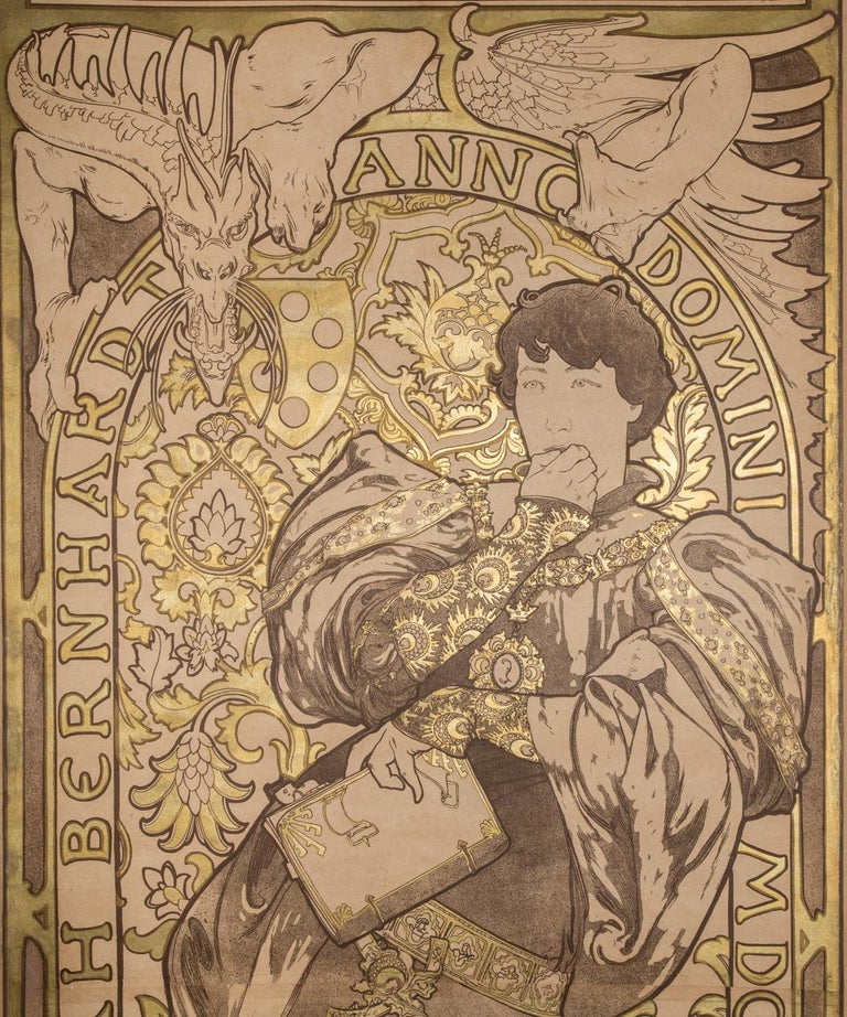 Lorenzaccio Lithograph Poster Artist Proof with Metallic Ink, 81 x 30 in. - Print by Alphonse Mucha