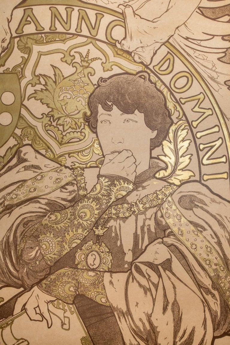 Lorenzaccio Lithograph Poster Artist Proof with Metallic Ink, 81 x 30 in. - Brown Figurative Print by Alphonse Mucha