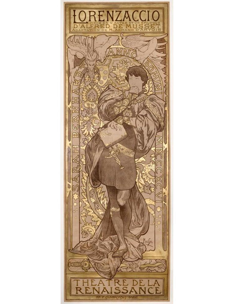 Alphonse Mucha Figurative Print - Lorenzaccio Lithograph Poster Artist Proof with Metallic Ink, 81 x 30 in.
