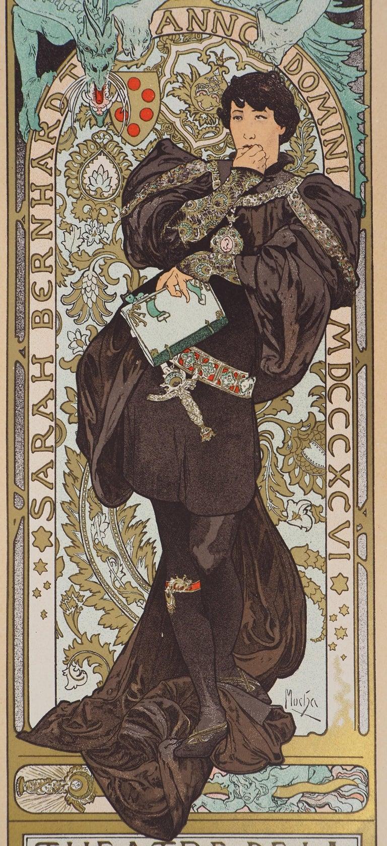 Lorenzaccio (Sarah Bernhardt) - Lithograph (Les Maîtres de l'Affiche), 1897 - Brown Figurative Print by Alphonse Mucha