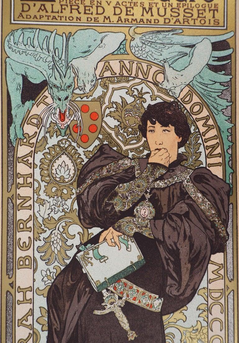 Alphonse Mucha Lorenzaccio (Sarah Bernhardt), 1897  Stone lithograph Printed signature in the plate On vellum  Size 39 x 29 cm (c. 15.3 x 11.4