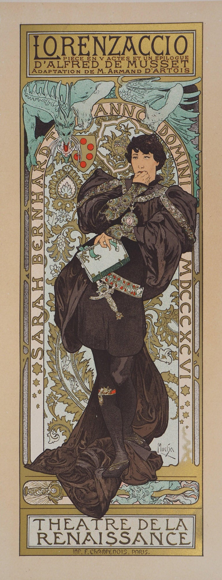 Alphonse Mucha Figurative Print - Lorenzaccio (Sarah Bernhardt) - Lithograph (Les Maîtres de l'Affiche), 1897
