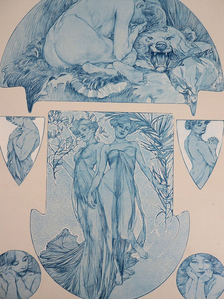 Nude Woman and a Bear Head - Lithograph, 1902 - Print by Alphonse Mucha