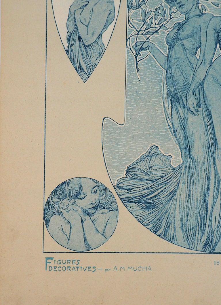 Nude Woman and a Bear Head - Lithograph, 1902 - Art Nouveau Print by Alphonse Mucha