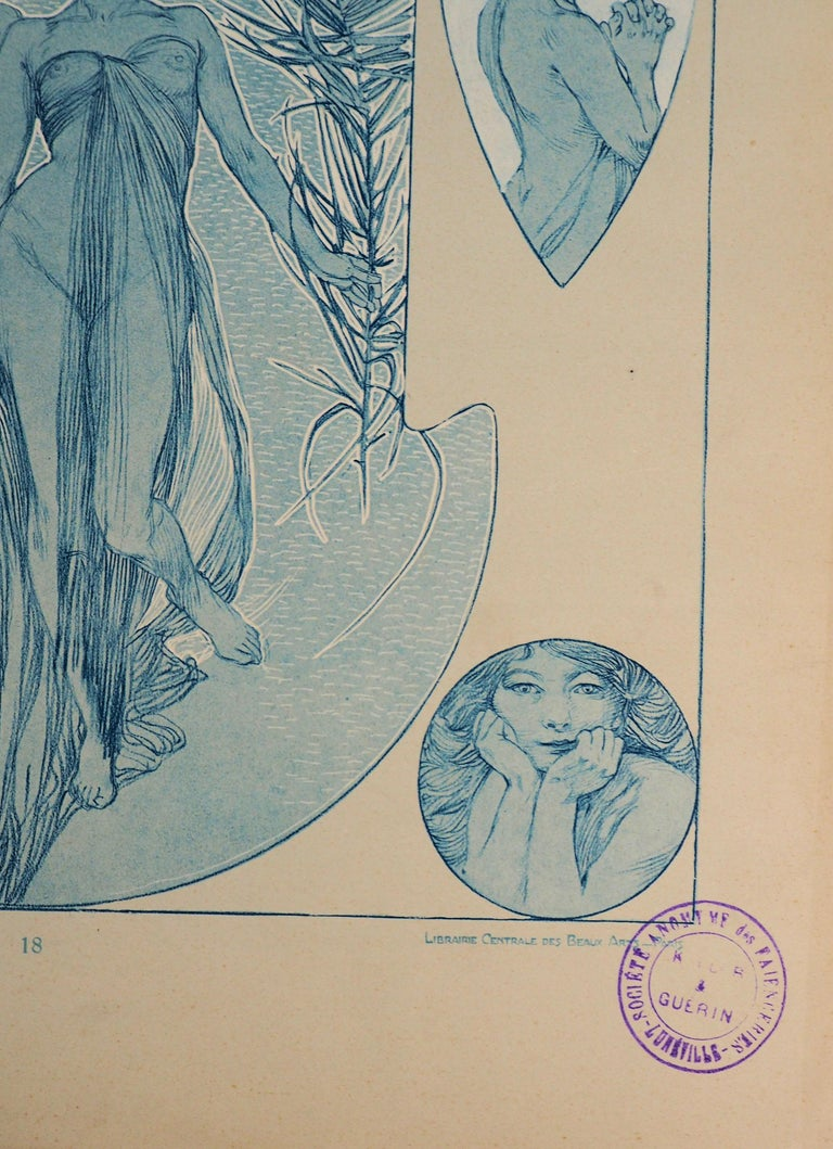Nude Woman and a Bear Head - Lithograph, 1902 - Gray Figurative Print by Alphonse Mucha
