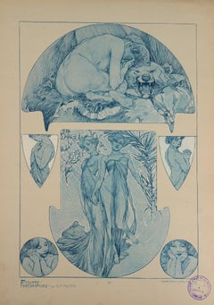 Nude Woman and a Bear Head - Lithograph, 1902