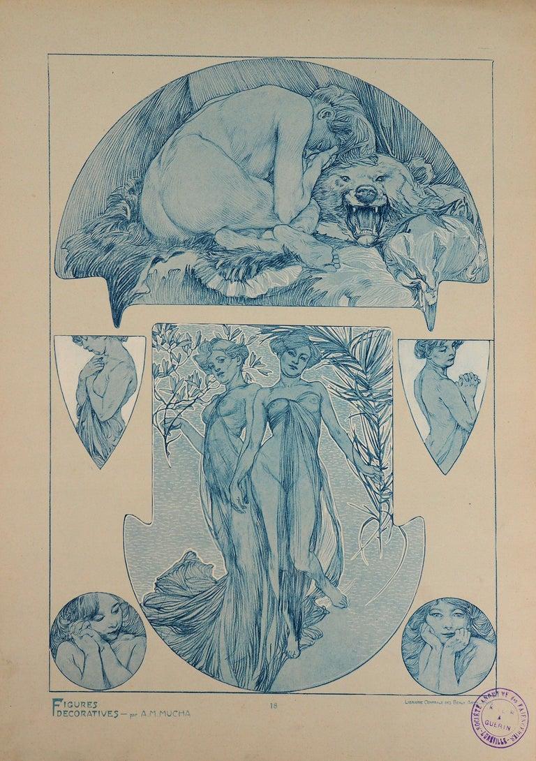 Alphonse Mucha Figurative Print - Nude Woman and a Bear Head - Lithograph, 1902