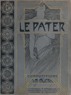 Original cover for Alphonse Mucha's Le Pater, Symbolist letterpress, 1899
