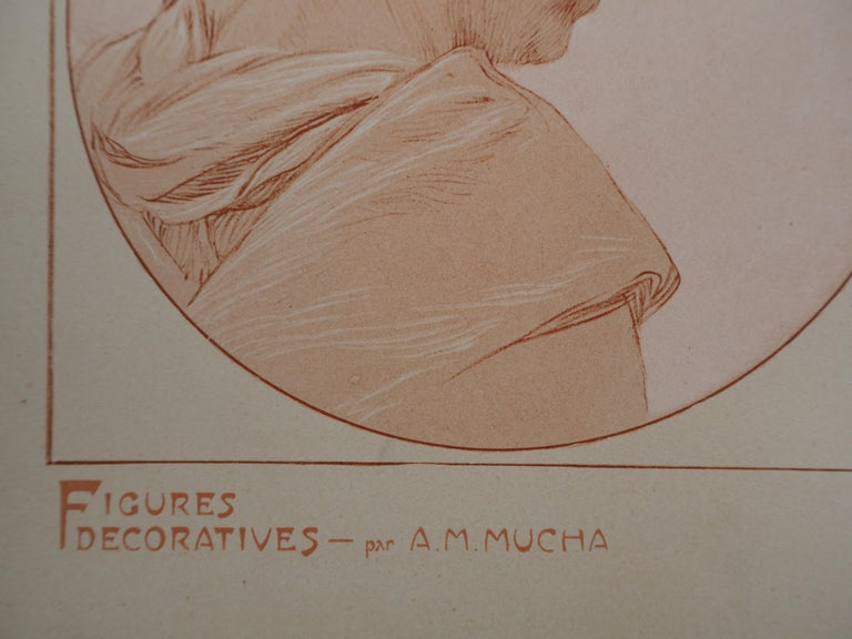 Portraits of Young Girl - Lithograph 1902 - Print by Alphonse Mucha