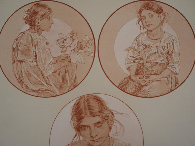 Portraits of Young Girl - Lithograph 1902 - Art Nouveau Print by Alphonse Mucha