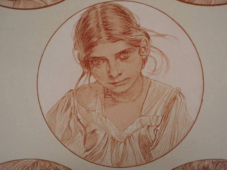 Portraits of Young Girl - Lithograph 1902 - Brown Figurative Print by Alphonse Mucha