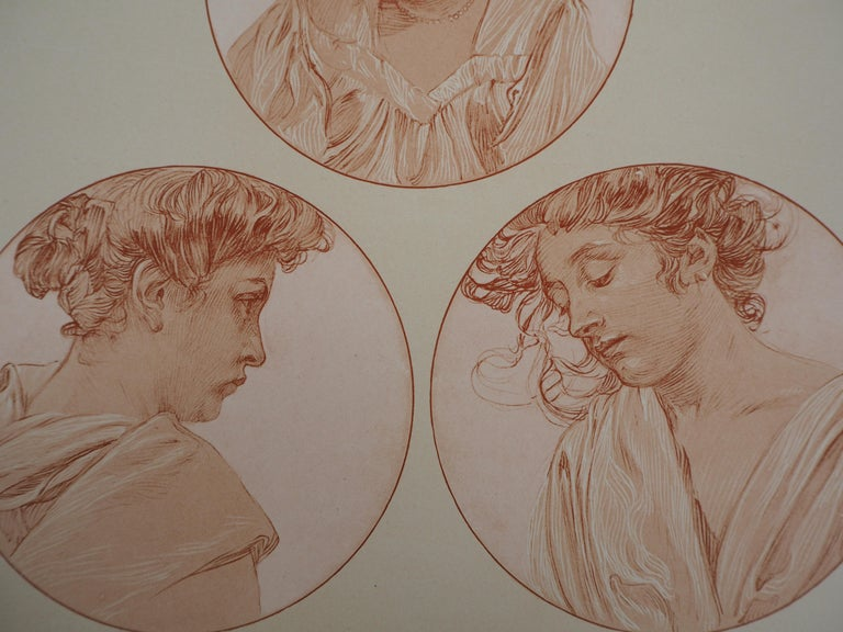 Alphonse MUCHA Portraits of Young Girl  Lithograph Printed signature bottom left On heavy paper 45.5 x 33 cm (c. 18 x 13 inch) Plate n°5 of the portfolio Figures Decoratives published by La Librairie Centrale des Beaux-Arts, published in 1902.