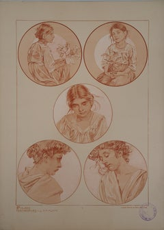 Portraits of Young Girl - Lithograph 1902