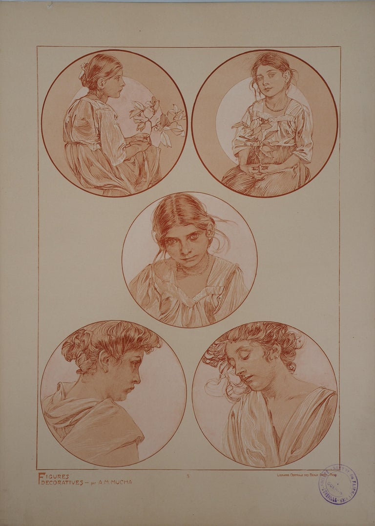 Alphonse Mucha Figurative Print - Portraits of Young Girl - Lithograph 1902