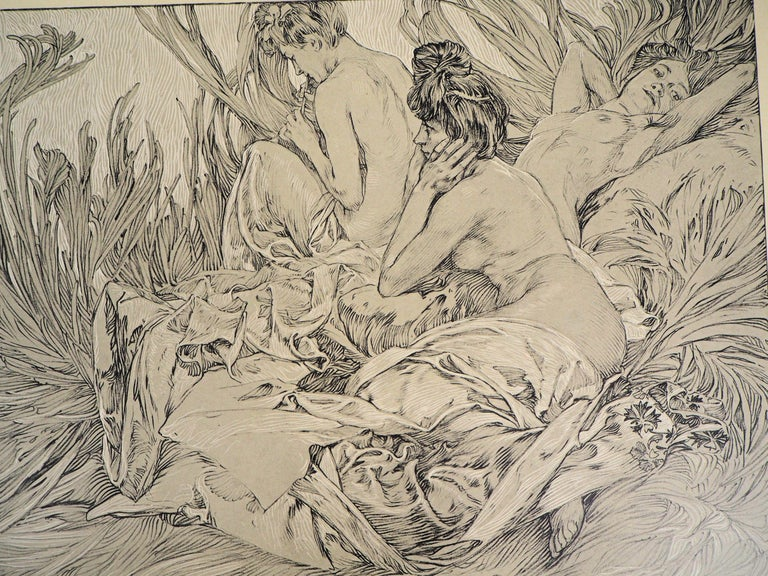 Reclining Models in a Landscape - Lithograph 1902 - Print by Alphonse Mucha