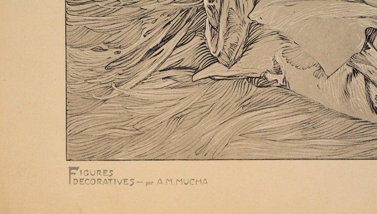 Reclining Models in a Landscape - Lithograph 1902 - Art Nouveau Print by Alphonse Mucha