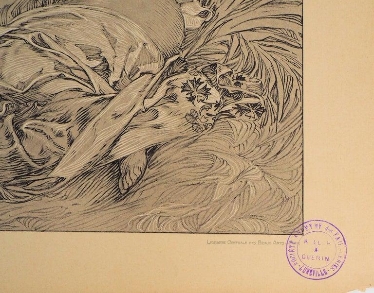 Reclining Models in a Landscape - Lithograph 1902 - Beige Figurative Print by Alphonse Mucha