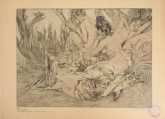 Reclining Models in a Landscape - Lithograph 1902