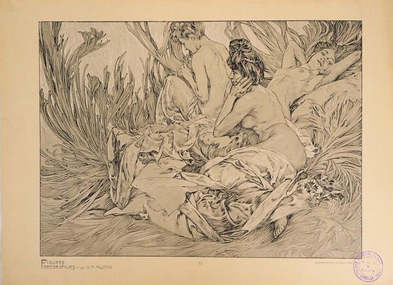 Alphonse Mucha Figurative Print - Reclining Models in a Landscape - Lithograph 1902